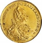 GERMANY. Hesse-Darmstadt. Ducat, 1755. Darmstadt Mint. Ludwig VIII. PCGS Genuine--Surfaces Smoothed,