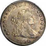 1800 Draped Bust Silver Dollar. BB-190, B-10a. Rarity-3. Very Wide Date, Low 8. AU-58+ (PCGS). CAC.