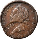 1760 Contemporary Counterfeit Irish Halfpenny. George II Type--Double Struck--Extremely Fine.