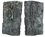 Ceylon. Anuradhputra Period, 1st-2nd Century. AE Lakshmi Plaque. 2.61 gms. 17 x 32mm. Facing Lakshmi