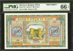 MOROCCO. Banque dEtat du Maroc. 100 Francs, 1.3.1944. P-27s. Specimen. PMG Gem Uncirculated 66 EPQ.