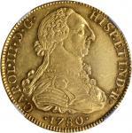 MEXICO. 8 Escudos, 1780-MoFF/M. Charles III (1759-88). NGC AU-58.