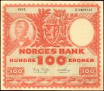 NORWAY. Norges Bank. 100 Kroner, 1956. P-33b. Very Fine.