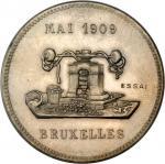 BELGIUM. Medallic Essai 5 Franks, 1909. PCGS SP-64.