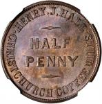 NEW ZEALAND. Christchurch/Wellington. Henry J. Hall/Lipman Levy. 1/2 Penny Token Mule, ND (1857). NG