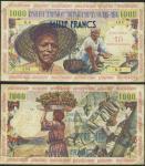Guadeloupe, Caisse Centrale de la France dOutre Mer, 10 nouveaux francs on 1000 francs, provisional