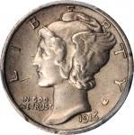 1916-D Mercury Dime. AU Details--Cleaned (PCGS).