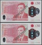 Bank of England, £50, 23 June 2021, serial number AA01 000035/36, red, Queen Elizabeth II at right a