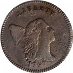 1797 Liberty Cap Half Cent. C-3b. Rarity-4. Low Head, Lettered Edge. VF-20 (PCGS).