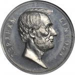 1865 Abraham Lincoln Presidential Medal. Aluminum. 76 mm. Julian PR-12, Cunningham 22-240A, King-518