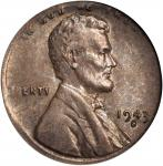 1943-S Lincoln Cent--Struck on a Dime Planchet--AU-55 (NGC).