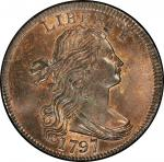 1797 Draped Bust Cent. Sheldon-140. Reverse of 1797, With Stems. Rarity-1. Mint State-66 RB (PCGS).