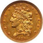 1838 $5 Classic Head. NGC AU55