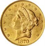 1870 Liberty Head Double Eagle. AU-58+ (PCGS).