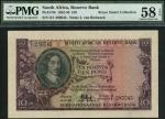 South African Reserve Bank, £10, 18 December 1952, serial number D/1 280043, dark green and maroon o