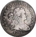 1798 Draped Bust Silver Dollar. Heraldic Eagle. BB-96, B-6. Rarity-3. Knob 9, 10 Arrows, 5 Stripes.