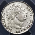 GREAT BRITAIN George III ジョージ3世(1760~1820) 6Pence 1817 PCGS-MS64 UNC+