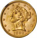 1892 Liberty Head Half Eagle. MS-64+ (NGC). CAC.