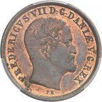 DANEMARK Frédéric VII (1848-1863). Essai de 1 skilling rigsmont 1854, Copenhague.