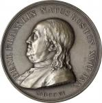1784 (post-1898) Benj. Franklin Natus Boston / Winged Genius Medal. Paris Mint Restrike. Silver. 46