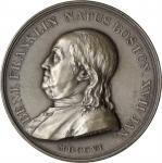 1784 (post-1898) Benj. Franklin Natus Boston / Winged Genius Medal. Paris Mint Restrike. Silver. 46