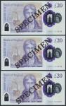 Bank of England, Sarah John, polymer £20, ND (20 February 2020), serial number AA01 000095/96/97, pu