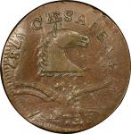 1787 New Jersey copper. Maris 73-aa. Rarity-4. Plaited Mane. Overstruck on 1787 Connecticut copper.