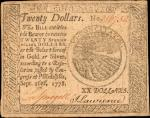 CC-82. Continental Currency. September 26, 1778. $20. Choice Very Fine.