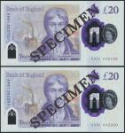 Bank of England, Sarah John, polymer £20, ND (20 February 2020), serial number AA01 002100/2200, pur
