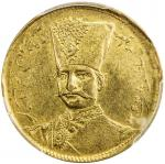 Lot 837 IRAN: Nasir al-Din Shah, 1848-1896, AV toman, Tehran, AH1299, KM-933, date in upper left are