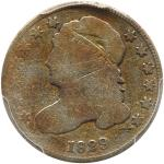 1829 Capped Bust Dime. Curl base 2. PCGS G