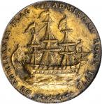 1778-1779 (ca. 1780) Rhode Island Ship Medal. Betts-562, W-1740. Wreath Below Ship. Brass. AU-53 (PC
