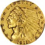 1911-D Indian Quarter Eagle. Strong D. AU Details--Cleaned (PCGS).