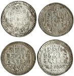 Jaintiapur, Bargosain II (1731-70), Tankas (2), 7.30, 9.35g, Sk. 1653, legends and main symbols as p