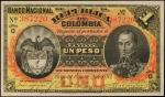 COLOMBIA. Republica de Columbia. 1 Peso, 1893. P-224. About Uncirculated.