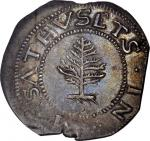 1652 Pine Tree Shilling. Large Planchet. Noe-1, Salmon 1-A, W-690. Rarity-2. Pellets at Trunk. MS-62