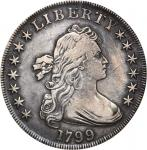 1799 Draped Bust Silver Dollar. BB-166, B-9. Rarity-1. EF-40 (ANACS). OH.
