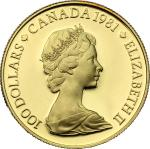 World Coins, Canada.  Elizabeth II (1952 -). 100 dollars 1981. Fr. 12 16.92 g.  27 mm.  优美