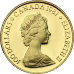 World Coins, Canada.  Elizabeth II (1952 -). 100 dollars 1981. Fr. 12 16.92 g.  27 mm.  优美