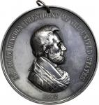 1862 Abraham Lincoln Indian Peace Medal. Large Format. Silver. 76.0 mm. 3,163.8 grains. Julian IP-38
