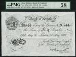 Bank of England, Kenneth Oswald Peppiatt (1934-1949), 」50, London 20 May 1936, serial number 57/N 30