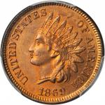 1869 Indian Cent. MS-65 RD (PCGS).