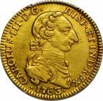 COLOMBIA. 1763-JV 2 Escudos. Santa Fe de Nuevo Reino (Bogotá) mint. Carlos III (1759-1788). Restrepo