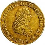 COLOMBIA. 1768-J 2 Escudos. Popayán mint. Carlos III (1759-1788). Restrepo 58.12. AU-50 (PCGS).