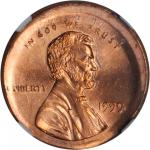 1999 Lincoln Cent--Broadstruck, Multistruck--MS-65 RD (NGC).
