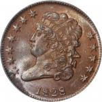 1828 Classic Head Half Cent. C-2. Rarity-1. 12 Stars. MS-64 BN (PCGS).