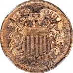 1864 Two-Cent Piece. Large Motto. Proof-65 RB Cameo (NGC).