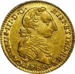 COLOMBIA. 1769-V 2 Escudos. Santa Fe de Nuevo Reino (Bogotá) mint. Carlos III (1759-1788). Restrepo