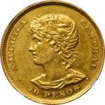 EL SALVADOR. 20 Pesos, 1892-CAM. San Salvador Mint. NGC AU-58.