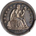 1859 Pattern Liberty Seated Dime. Transitional. Judd-233, Pollock-280. Rarity-6+. Silver. Reeded Edg